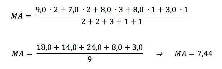 Segundo exemplo do cálculo de média aritmética ponderada