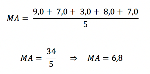 Segundo exemplo do cálculo de média aritmética simples