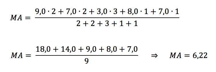 Exemplo do cálculo de média aritmética ponderada