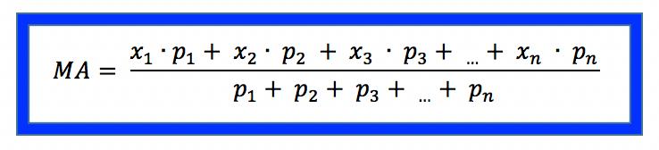 Fórmula da média aritmética ponderada