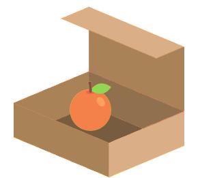 Conjunto unitário representado por uma caixa com uma única laranja dentro