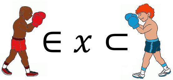 Símbolos matemáticos pertence versus contido