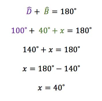 Cálculo em que os ângulos D e B são suplementares somam 180 graus