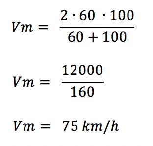 Utilizando a fórmula da média harmônica para encontrar a velocidade média do exercício