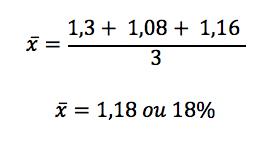 Cálculo da média aritmética entre as taxas de crescimento apresentadas
