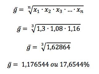 Cálculo da média geométrica entre as taxas de crescimento apresentadas