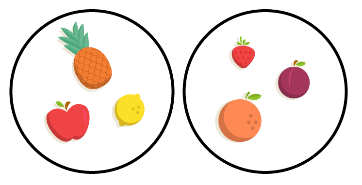 Conjuntos Disjuntos representados por frutas