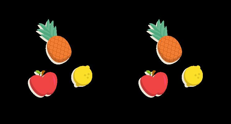 Conjuntos iguais representados por frutas