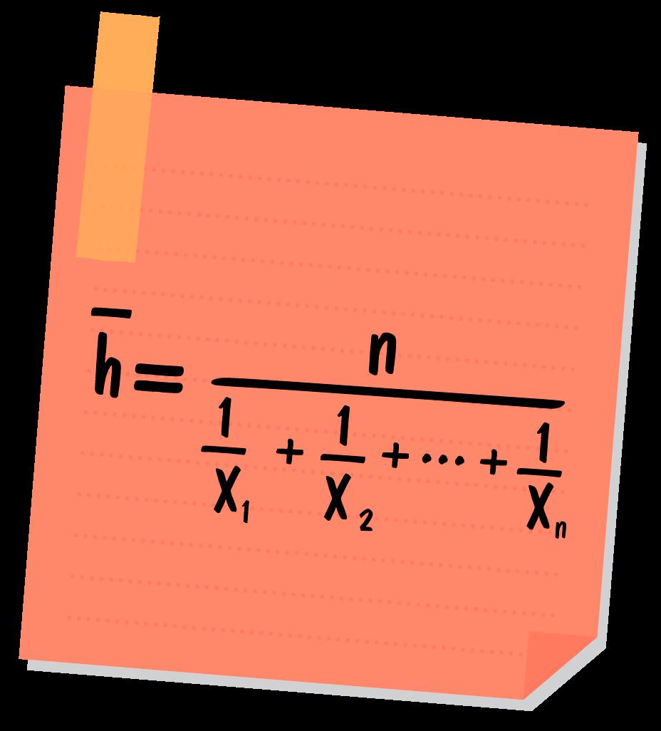 fórmula da média harmônica descrita em um post it