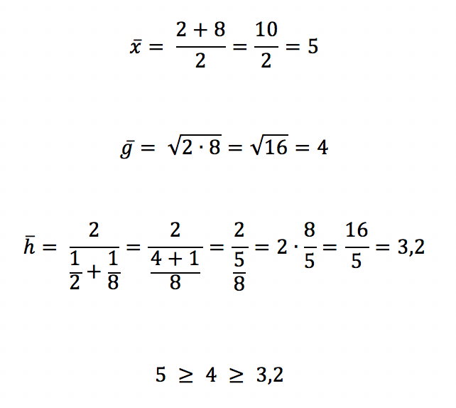 Cálculo das médias aritmética geométrica e harmônica mostrando a desigualdade entre as médias