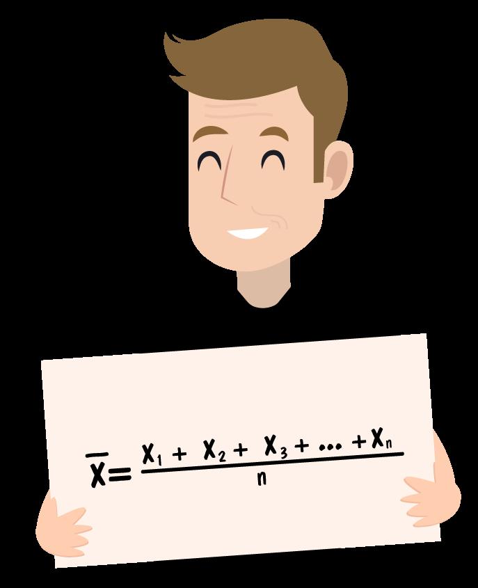 Ferretto mostrando em uma placa a fórmula da média aritmética