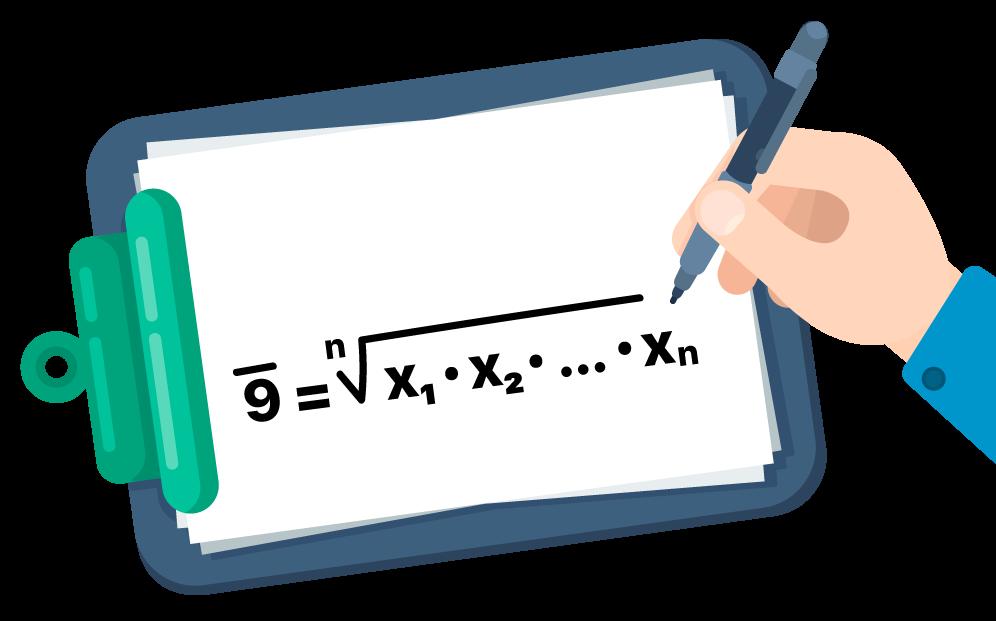 Fórmula da média geométrica em um caderno