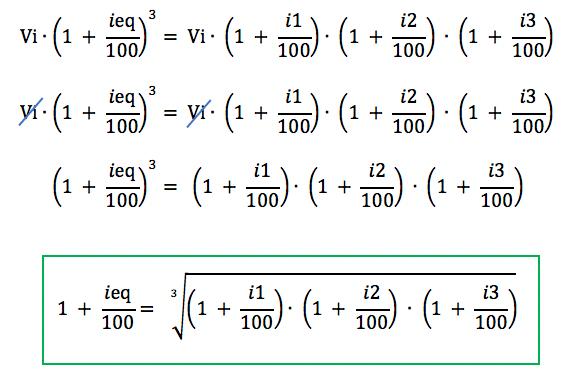 Igualando as duas fórmulas aparece a justificativa para usar a média geométrica