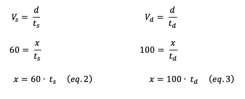 Substituindo os termos da fórmula da velocidade por valores conhecidos