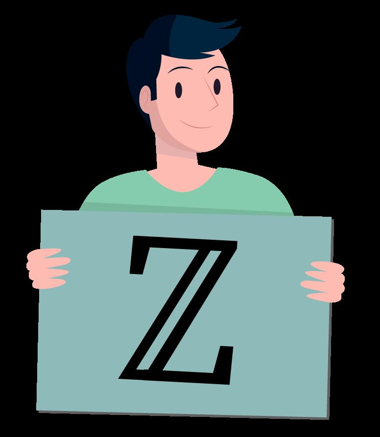 Aluno mostrando o símbolo do conjunto dos números inteiros