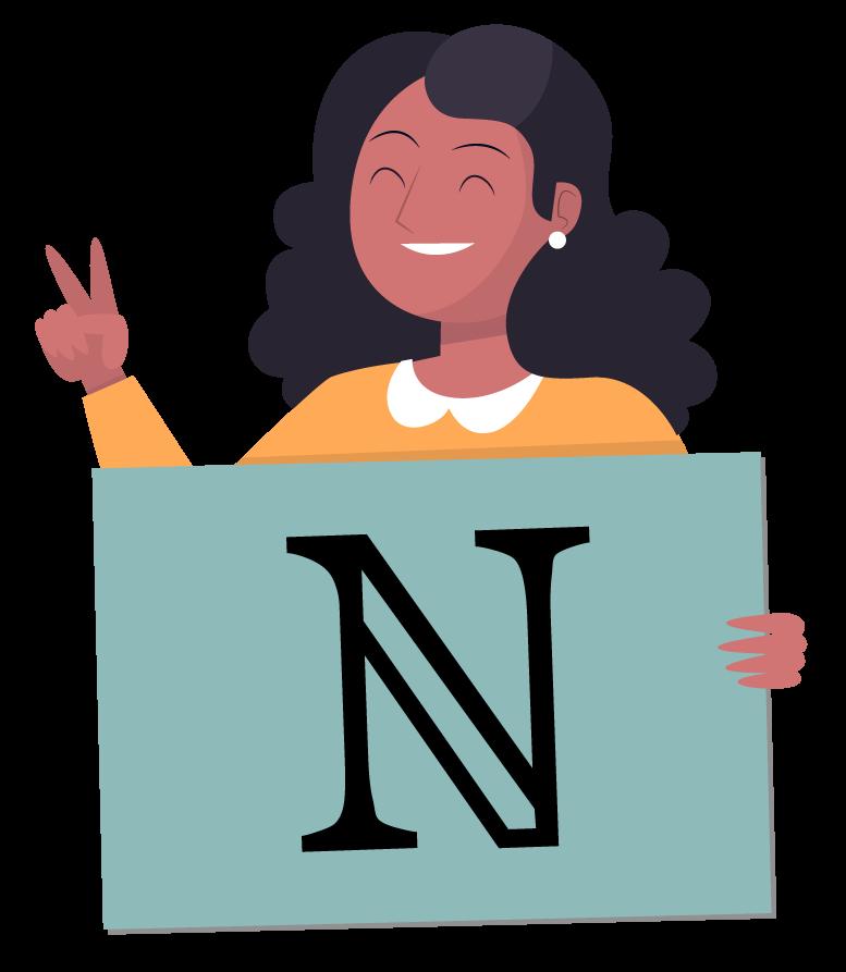 Aluna mostrando o símbolo do conjunto dos números naturais