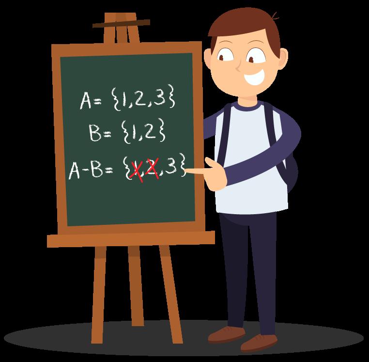 Aluno aponta para o quadro mostrando um exemplo de diferença entre dois conjuntos