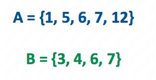 Exemplos de conjuntos A e B descritos por citação de elementos