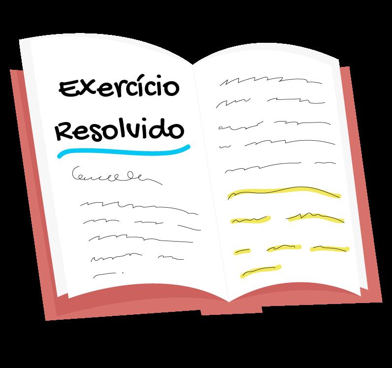 Livro mostrando um exercício resolvido