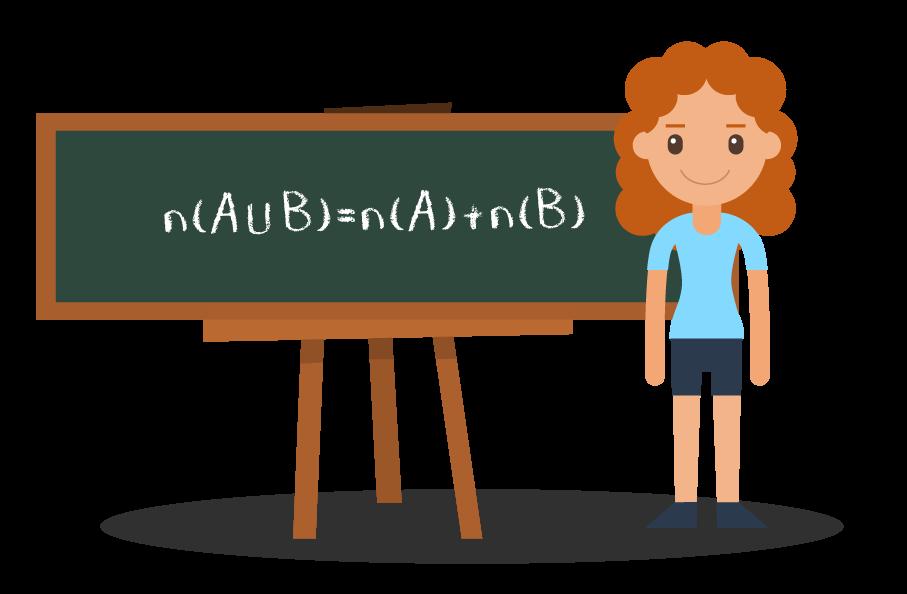 Aluna apresentando a fórmula do número de elementos da união entre dois conjuntos disjuntos