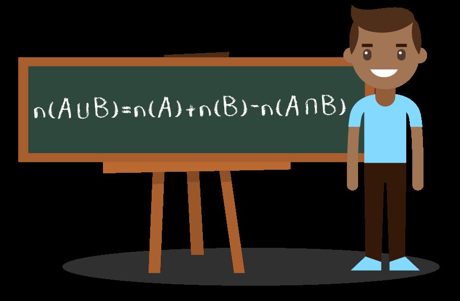 Aluno apresentando a fórmula do número de elementos da união entre dois conjuntos