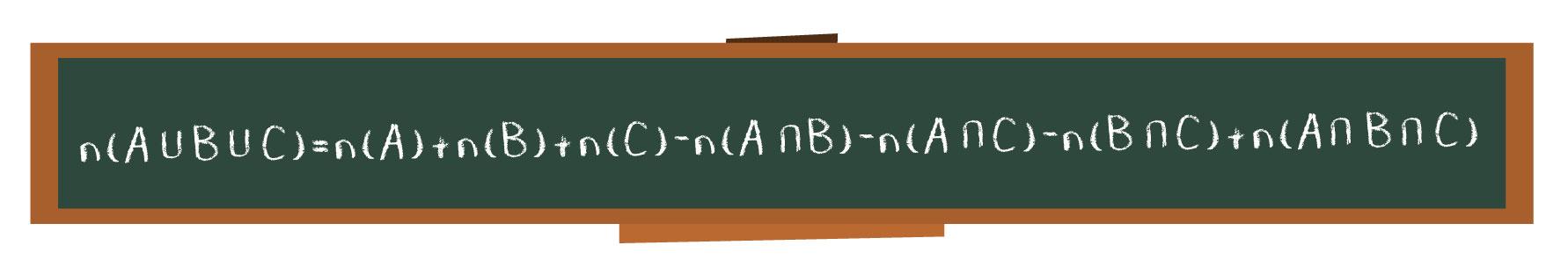 Fórmula do número de elementos da união entre três conjuntos no quadro negro