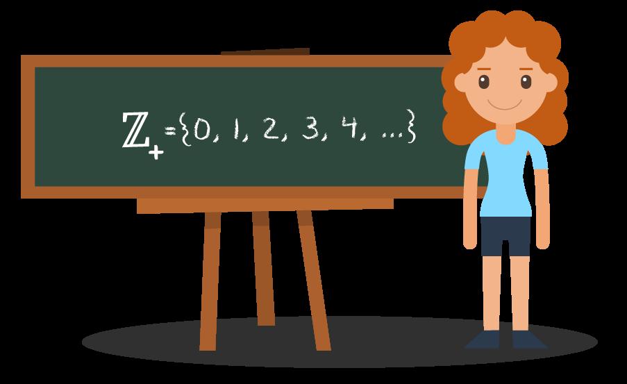 Aluna mostrando o subconjunto dos números inteiros não negativos