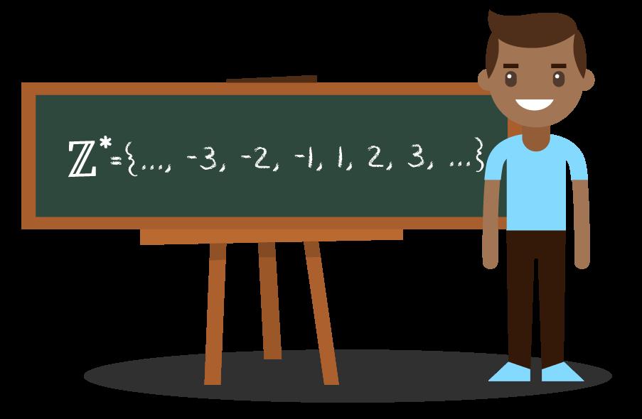 Aluno mostrando o subconjunto dos números inteiros não nulos