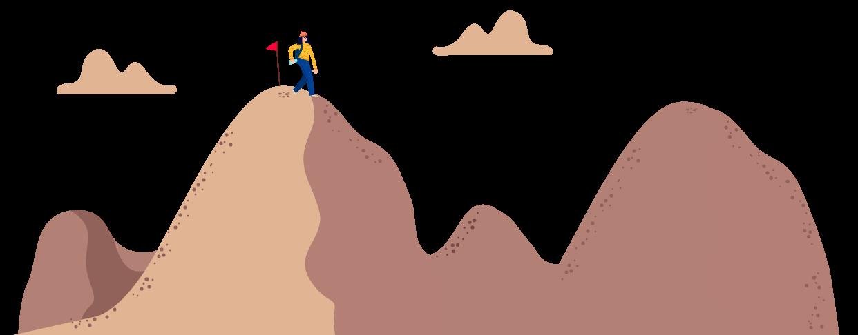 Pessoa subindo e descendo algumas montanhas