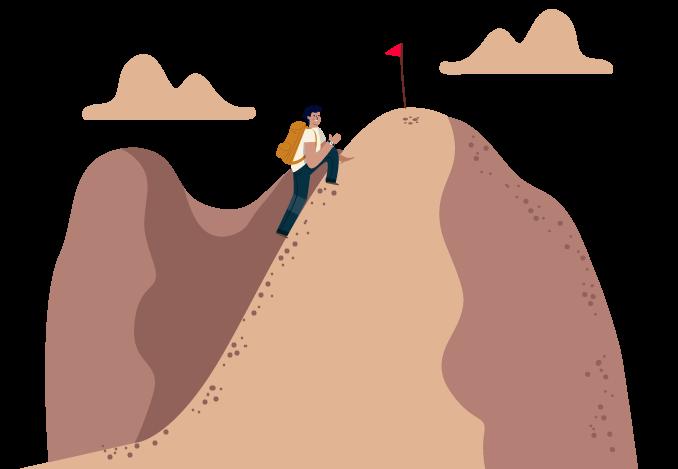 Pessoa sobe uma grande montanha