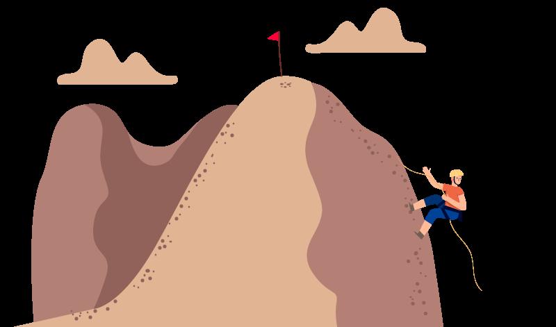 Pessoa desce uma grande montanha