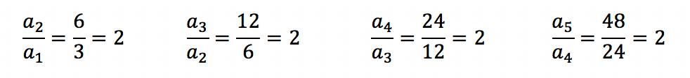 Cada termo da sequência dividido por seu antecessor resulta sempre no valor 2