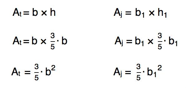 substituindo o valor da altura dos retângulos na fórmula da área dos retângulos