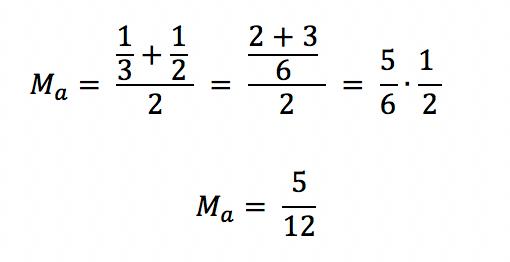 A média aritmética entre os valores 1/3 e 1/2 é 5/12