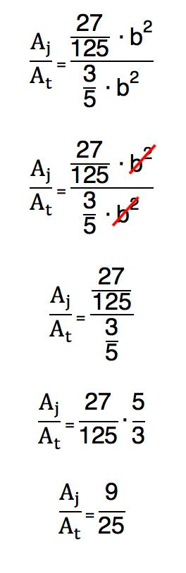 conclusão do cálculo da razão entre a área do jardim e a área do terreno cujo resultado é 9 25 avos