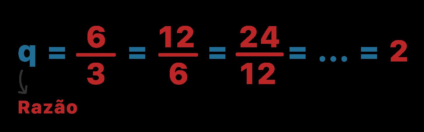 Cálculo da razão da PG do exemplo com valores numéricos