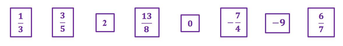 exemplos de cada um dos tipos de números racionais