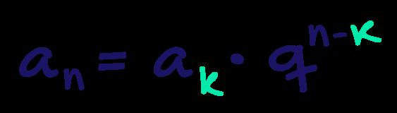 Extensão da fórmula do termo geral da progressão geométrica evidenciando o índice k