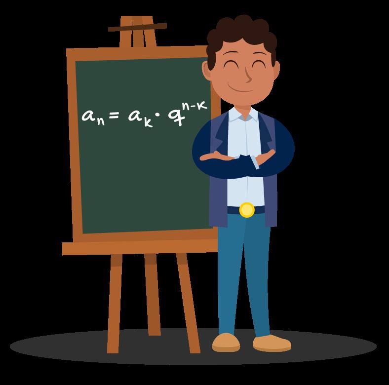 Aluno apresenta no quadro a extensão da fórmula do termo geral de uma progressão geométrica