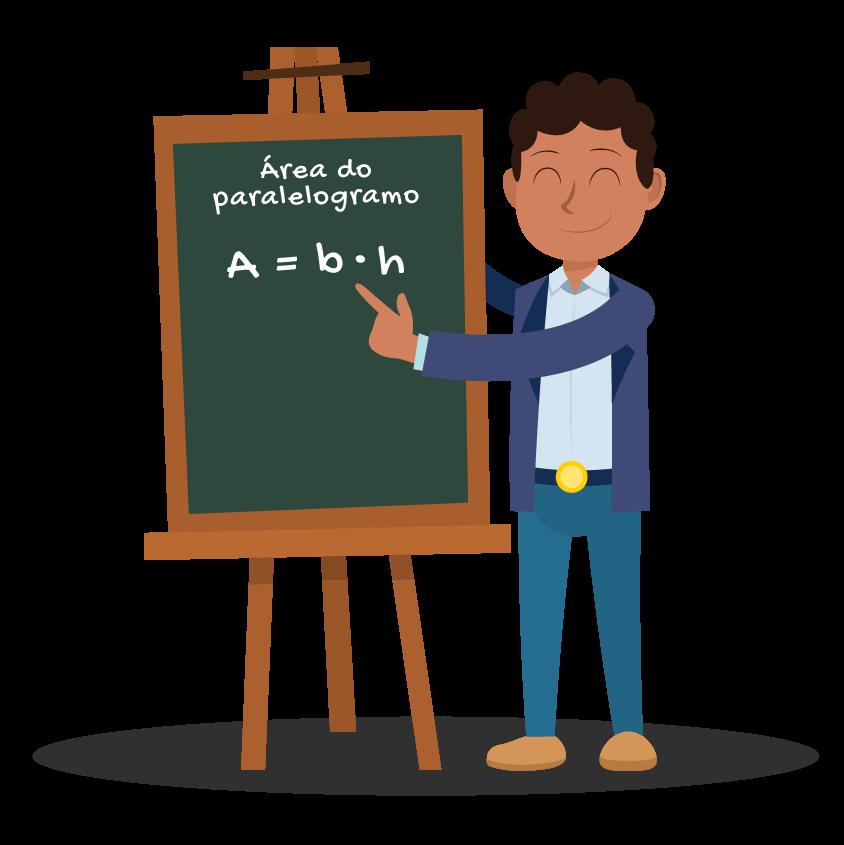 aluno apresenta em um quadro a fórmula da área do paralelogramo