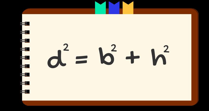 fórmula da diagonal do retângulo escrita em um caderno