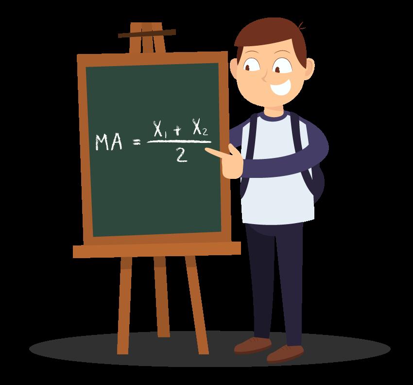 Aluno mostra a fórmula da média aritmética entre dois termos