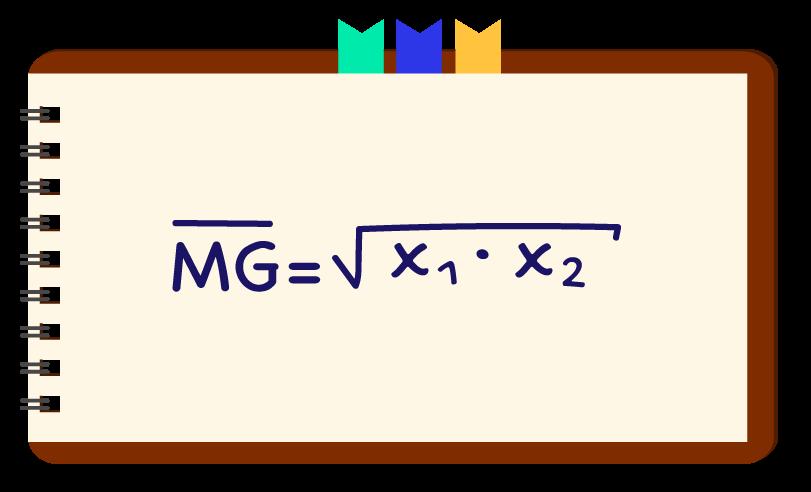 A fórmula da média geométrica entre 2 termos está descrita em um caderno