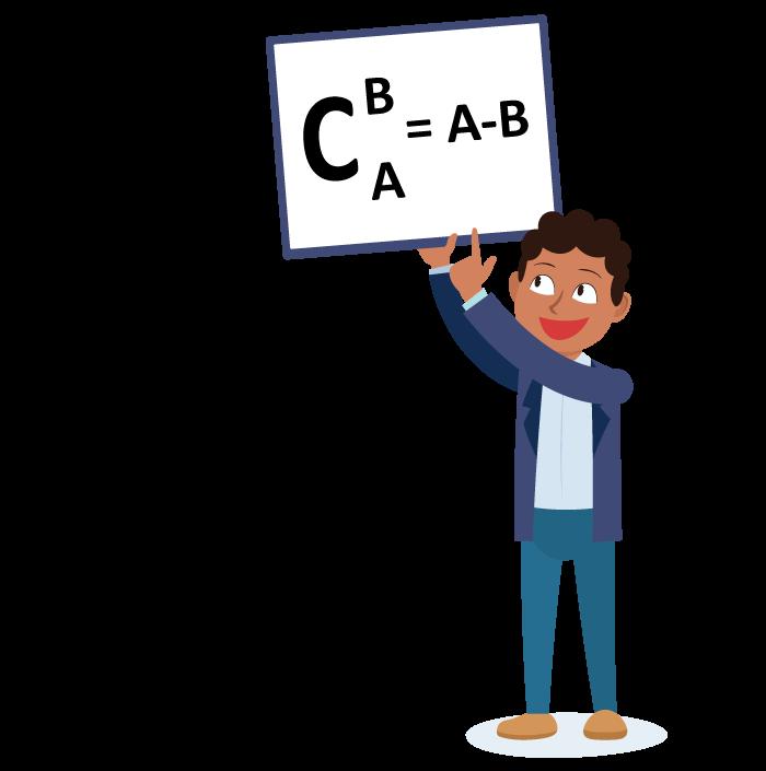 Aluno apresentando a fórmula do complementar de B em relação a A