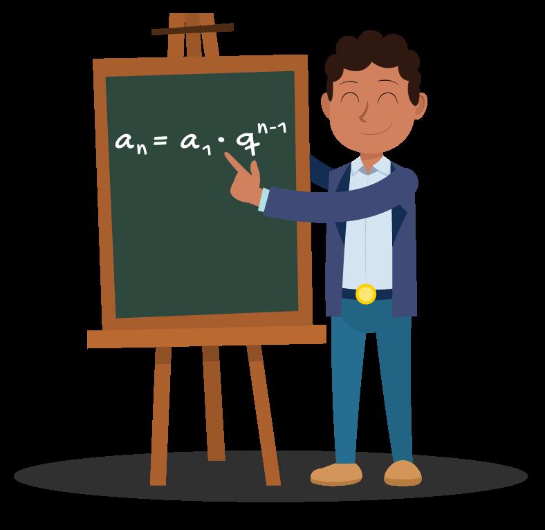 Aluno apresenta no quadro a fórmula do termo geral de uma progressão geométrica