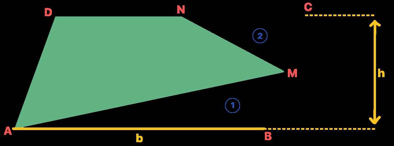 triângulo maior é nomeado como 1 e o menor como 2