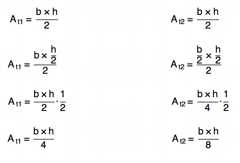 substituindo as medidas da base e da altura dos triângulos nas fórmulas da área do triângulo