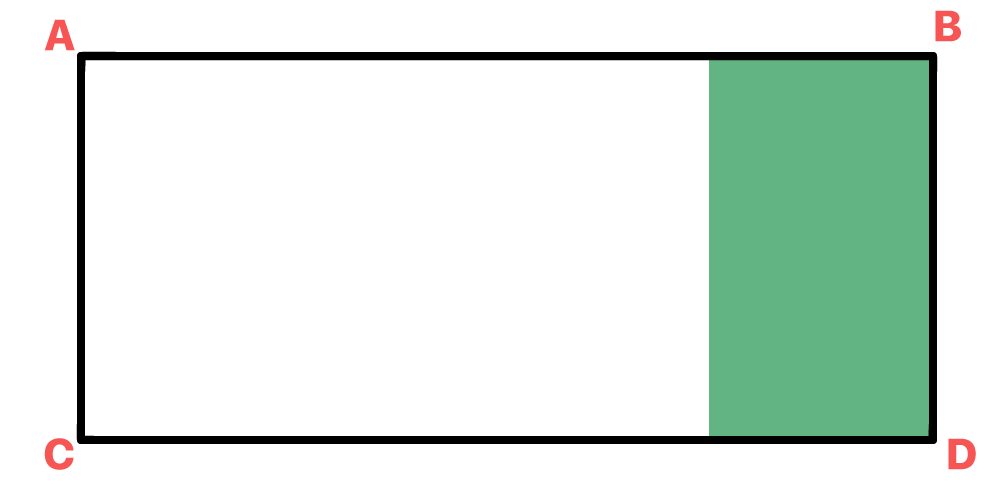 retângulo representando um terreno retangular onde está inserido um jardim retangular