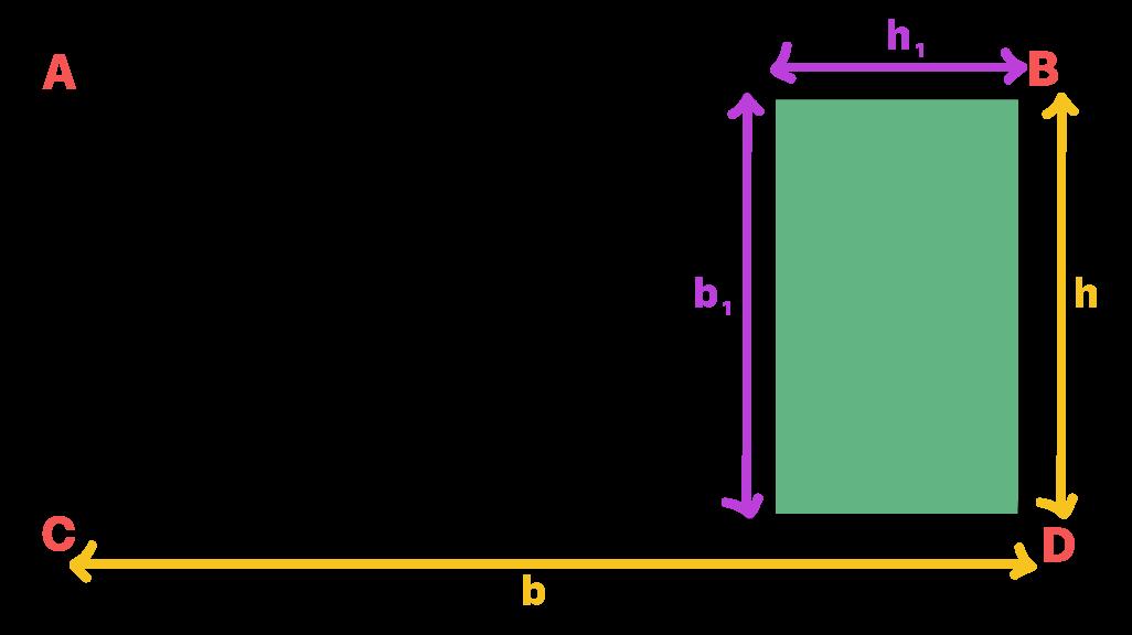 medidas da base e altura dos retângulos são representadas próximas a eles