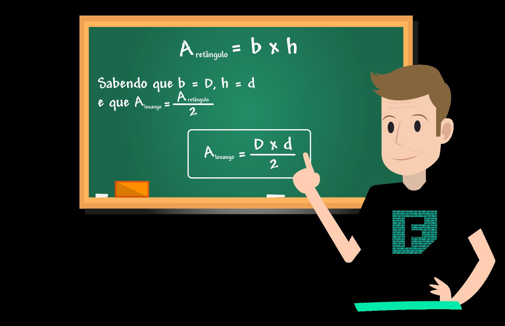 Ferretto mostra a fórmula da área do losango no quadro negro
